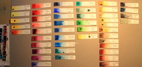 Farbfächer, Farblehre und eigene Aquarellfarben